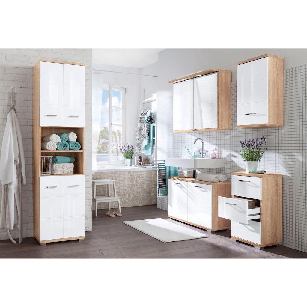 Homexperts Waschbeckenunterschrank »Nusa«, Breite 80 cm, Badezimmerschrank mit Metallgriffen, MDF-Fronten in Hochglanz-Optik und Ausschnitt für Abwasserleitung
