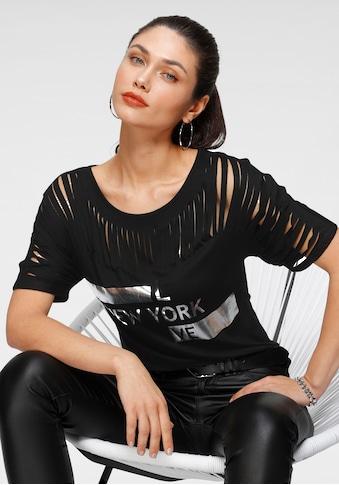 Melrose Rundhalsshirt, mit Schlitzen und Folienprint kaufen