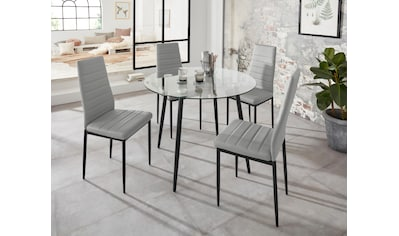 Essgruppe »Danny + Sandy«, (Set, 5 tlg.), runder Glastisch, Ø 100 cm und 4 Esszimmerstühlen, Bezug aus Kunstleder kaufen