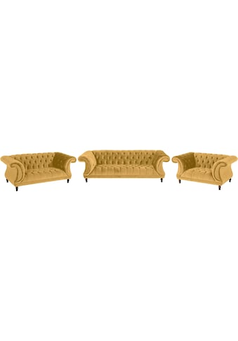 Max Winzer® Chesterfield-Sofa »Isabelle«, mit edler Knopfheftung & gedrechselten Füssen in Buche Nussbaum, Breite 200 cm kaufen