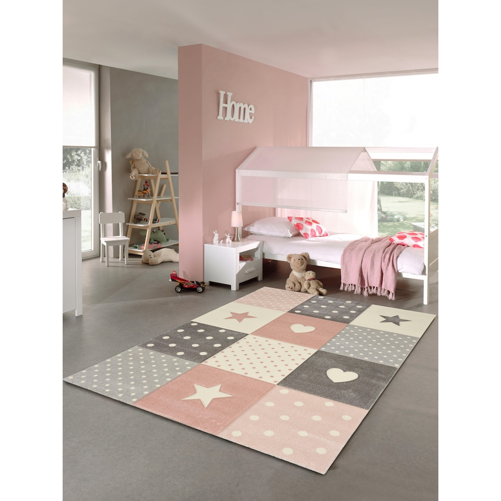 merinos Kinderteppich »Pastel Kids 20339«, rechteckig, 13 mm Höhe, handgearbeiteter Konturenschnitt
