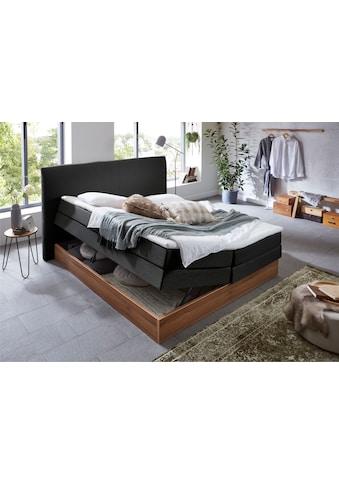 Premium collection by Home affaire Boxspringbett »Blomen«, mit Walnuss-Dekor, mit Bettkasten, verschiedene Härtegrade, mit Topper kaufen