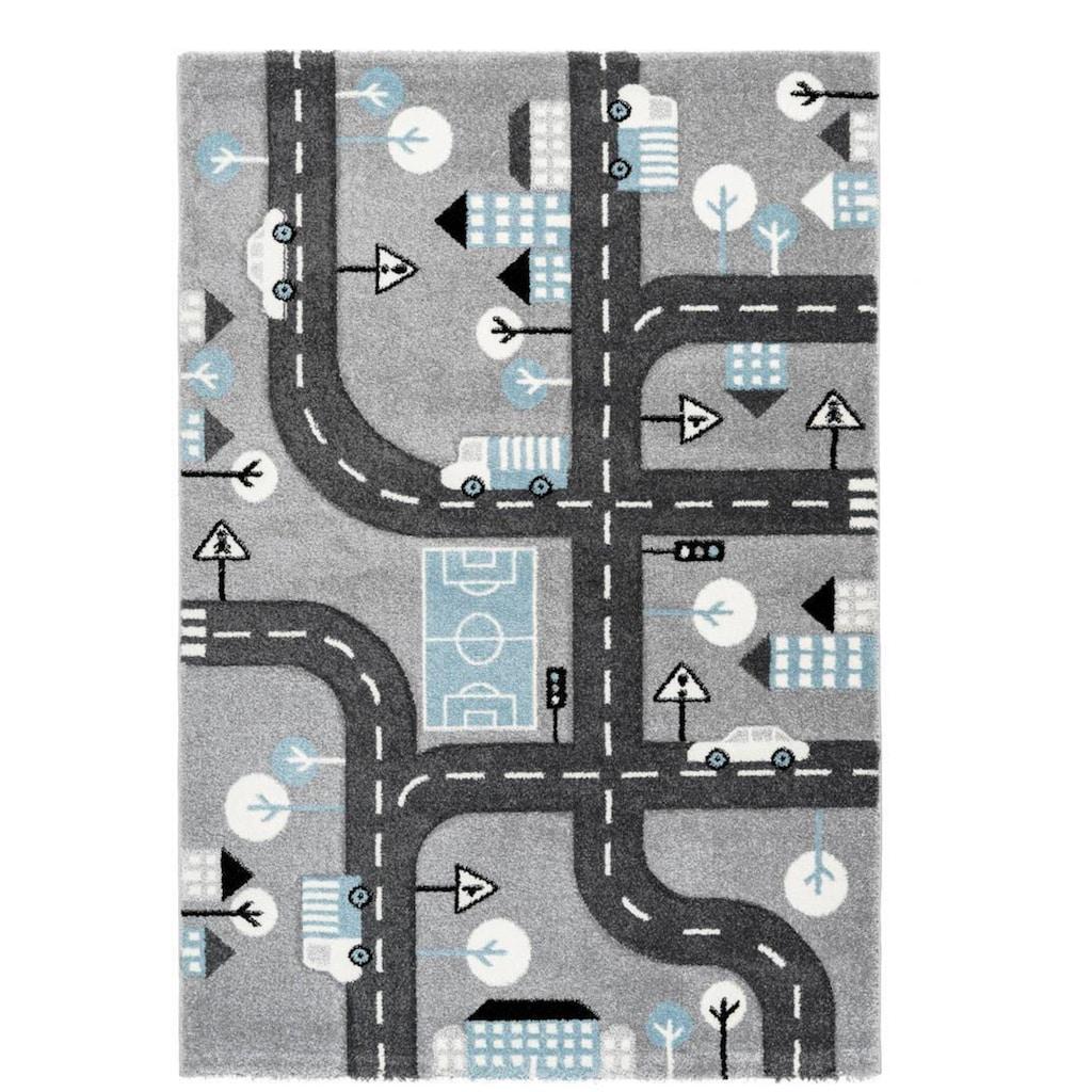 LALEE Kinderteppich »Amigo 331«, rechteckig, 15 mm Höhe, Strassen-Spielteppich