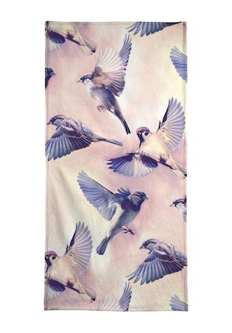 Juniqe Handtuch »Sparrow Flight«, (1 St.), Weiche Frottee-Veloursqualität kaufen