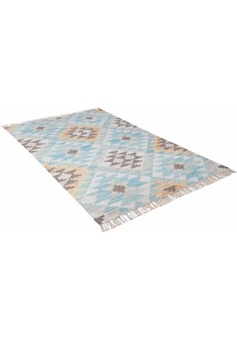 TOM TAILOR Teppich »Check Kelim«, rechteckig, 5 mm Höhe, handgewebt, mit Fransen,... kaufen