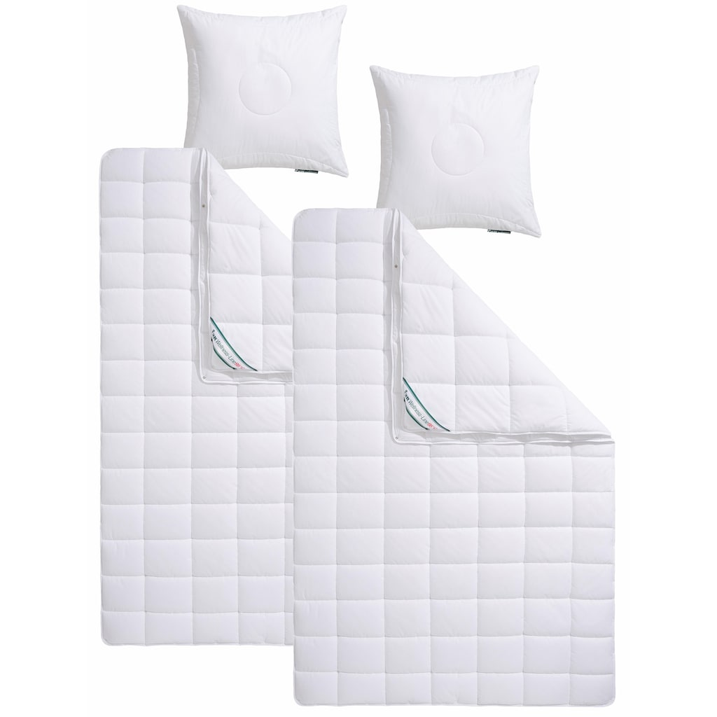 f.a.n. Schlafkomfort Kunstfaserbettdecke + Kopfkissen »Wellness Line«, (Spar-Set), kochfeste Qualität für hohen Hygieneanspruch