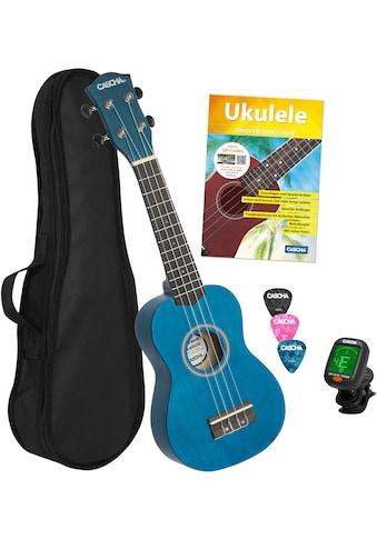 Cascha Ukulele »Sopran, Blau«, mit Tasche, Übungsheft, Plektren und Stimmgerät kaufen