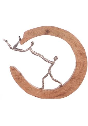 GILDE Dekofigur »Skulptur Parents Love, silberfarben/natur«, Dekoobjekt, Höhe 32, handgefertigt, aus Metall und Holz, Wohnzimmer kaufen