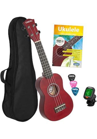 Cascha Ukulele »Sopran, Rot«, mit Tasche, Übungsheft, Plektren und Stimmgerät kaufen