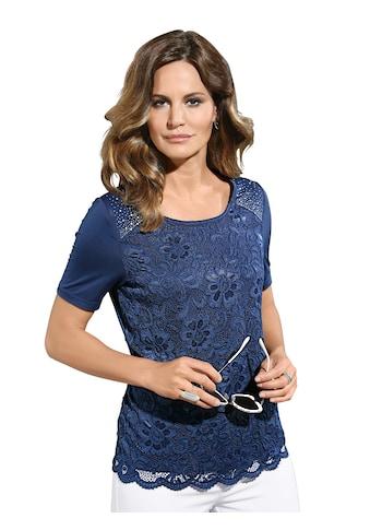 Lady Shirt im eleganten Mix aus Spitze und Glitzersteinchen kaufen