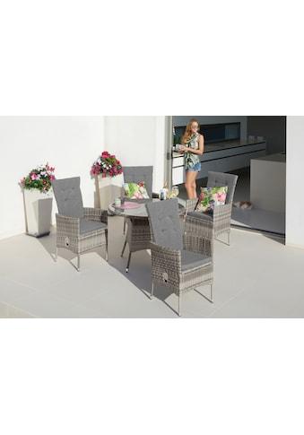 KONIFERA Gartenmöbelset »Belluno«, (9 tlg.), 4 Sessel, Tisch Ø 100 cm, Polyrattan kaufen