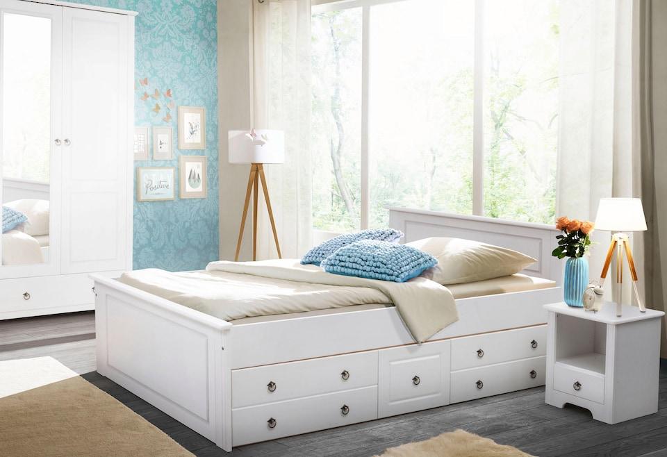 Bildquelle: Home Affaire Schlafzimmer Set «Hugo» (3 Tlg.), Bett 140cm,  2 Trg Kleiderschrank Und 1 Nachttisch