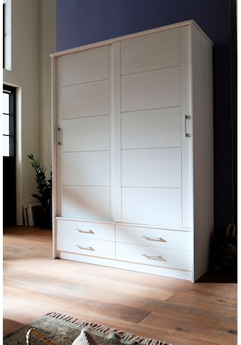 Premium collection by Home affaire Schiebetürenschrank »Progress«, aus massivem Fichtenholz, mit praktischer Funktionalität, Breite 145 cm kaufen