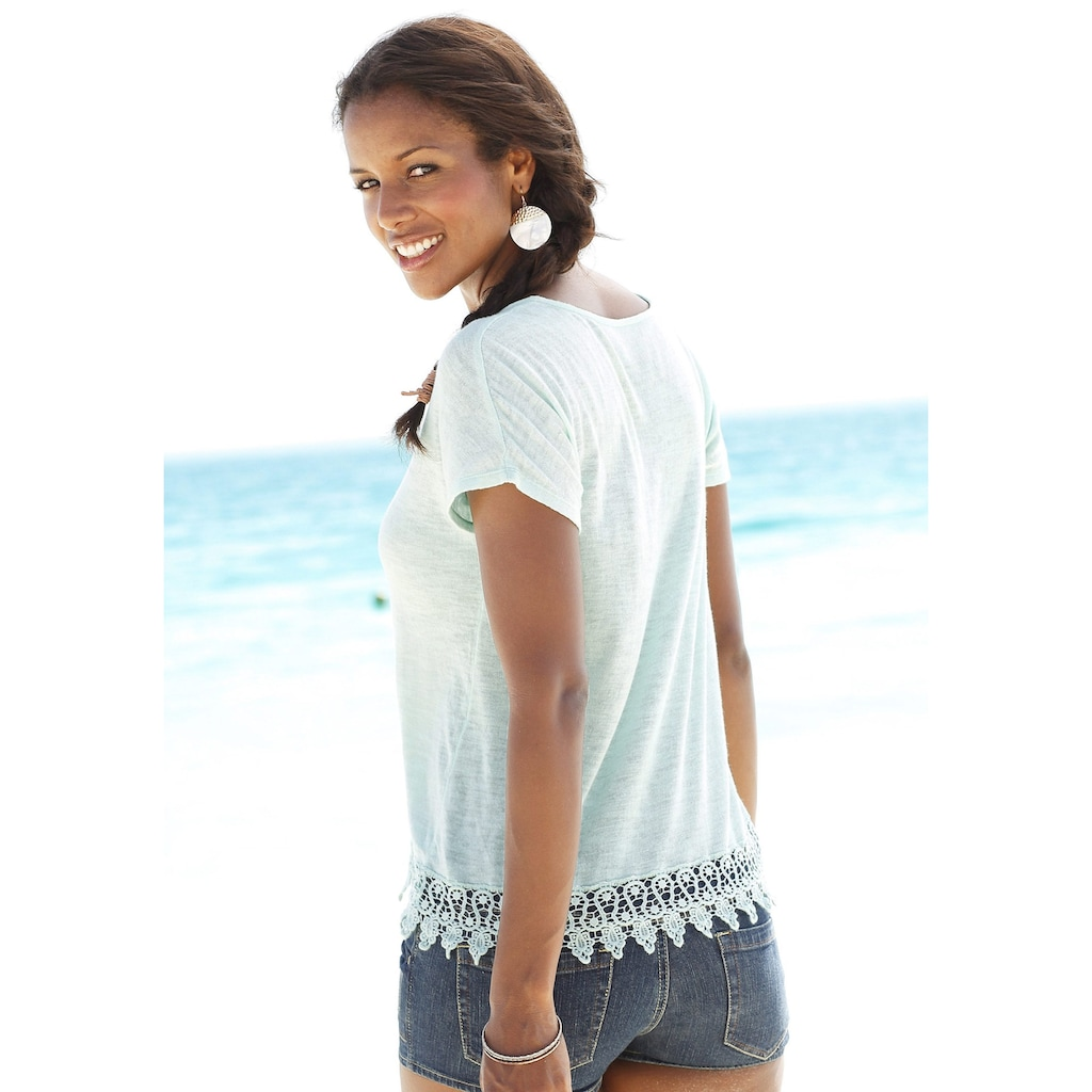 LASCANA Strandpullover, mit Spitze