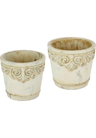 Home affaire Übertopf, (Set, 2 St.), Keramikübertopf mit Ornamenten kaufen