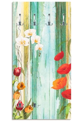 Artland Garderobe »Bunte Blumen«, platzsparende Wandgarderobe aus Holz mit 6 Haken,... kaufen