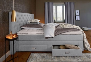 gmk home living boxspringbett aivi mit schubk sten bequem auf raten kaufen. Black Bedroom Furniture Sets. Home Design Ideas