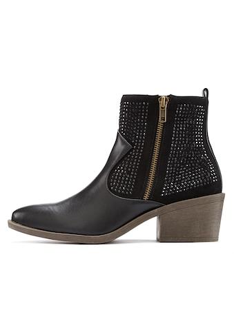 LASCANA Stiefelette, mit kleinen Steinchen und modischem Blockabsatz kaufen