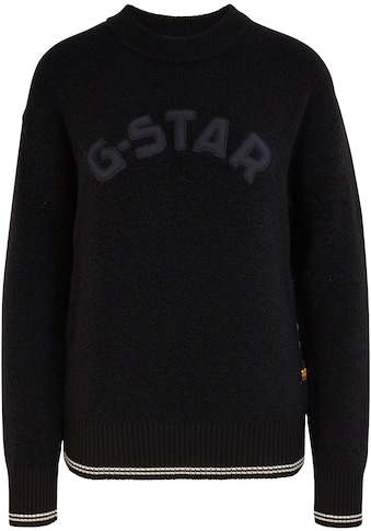 G-Star RAW Rundhalspullover »College gr r loose knit wmn«, mit grosser Logo-Applikation kaufen