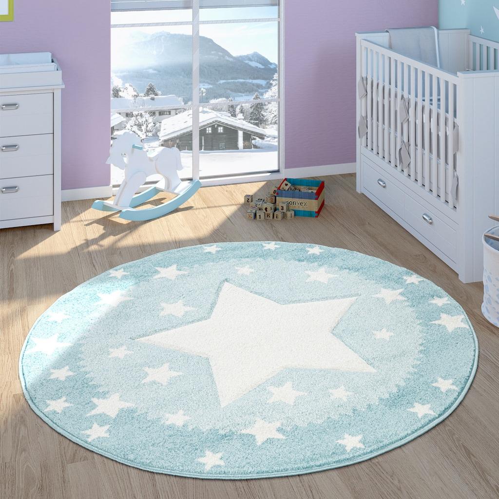 Paco Home Kinderteppich »Ela 398«, rund, 17 mm Höhe, Stern Motiv, mit Bordüre