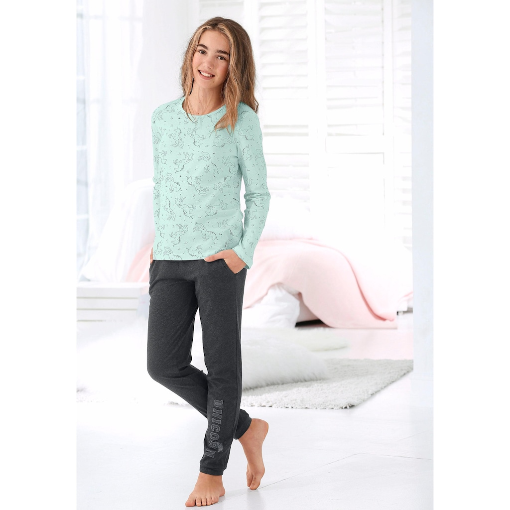 Arizona Pyjama, mit Unicorn (Einhorn)-Druck
