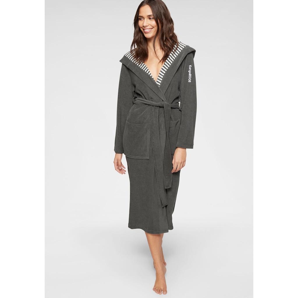 KangaROOS Damenbademantel »Dalia«, aussen Unifarben und innen mit Streifen