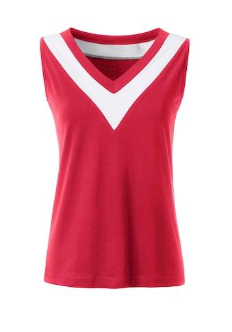 Casual Looks Shirttop mit breitem kontrastfarbige Beleg kaufen