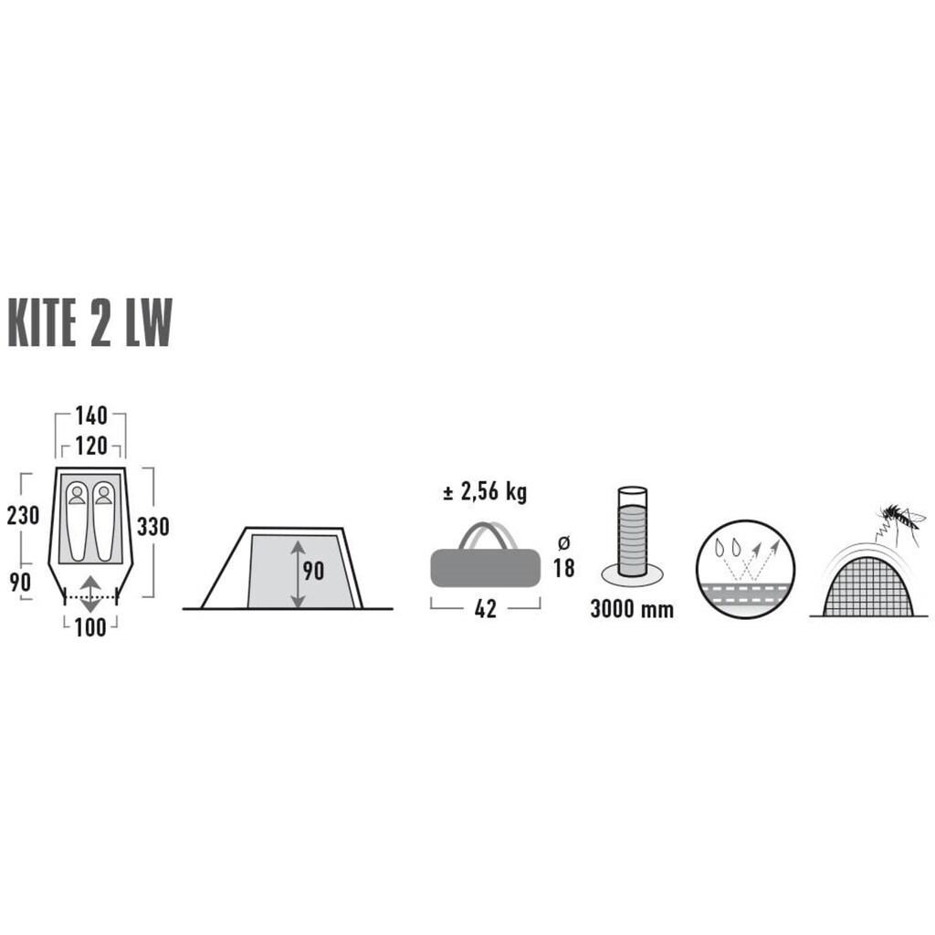 High Peak Tunnelzelt »Kite 2 LW«, 2 Personen