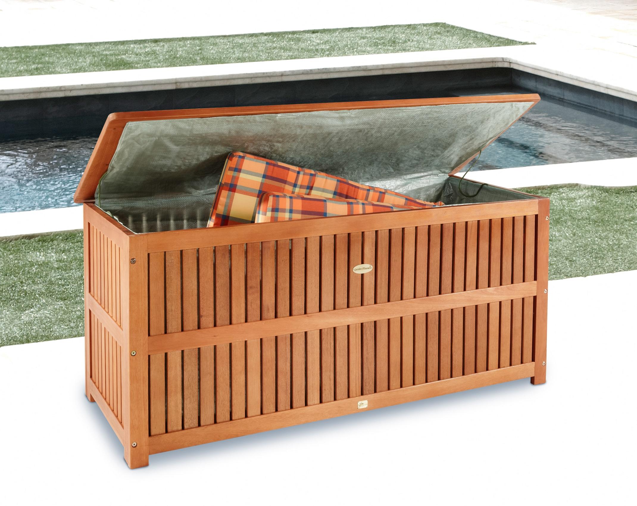 Image of Auflagenbox, 130x58x55 cm, Eukalyptusholz, braun