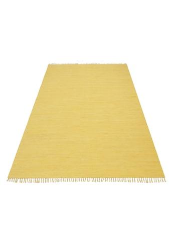 Home affaire Teppich »Handweb Uni«, rechteckig, 5 mm Höhe, reine Baumwolle, Wendeteppich, mit Fransen, Wohnzimmer kaufen