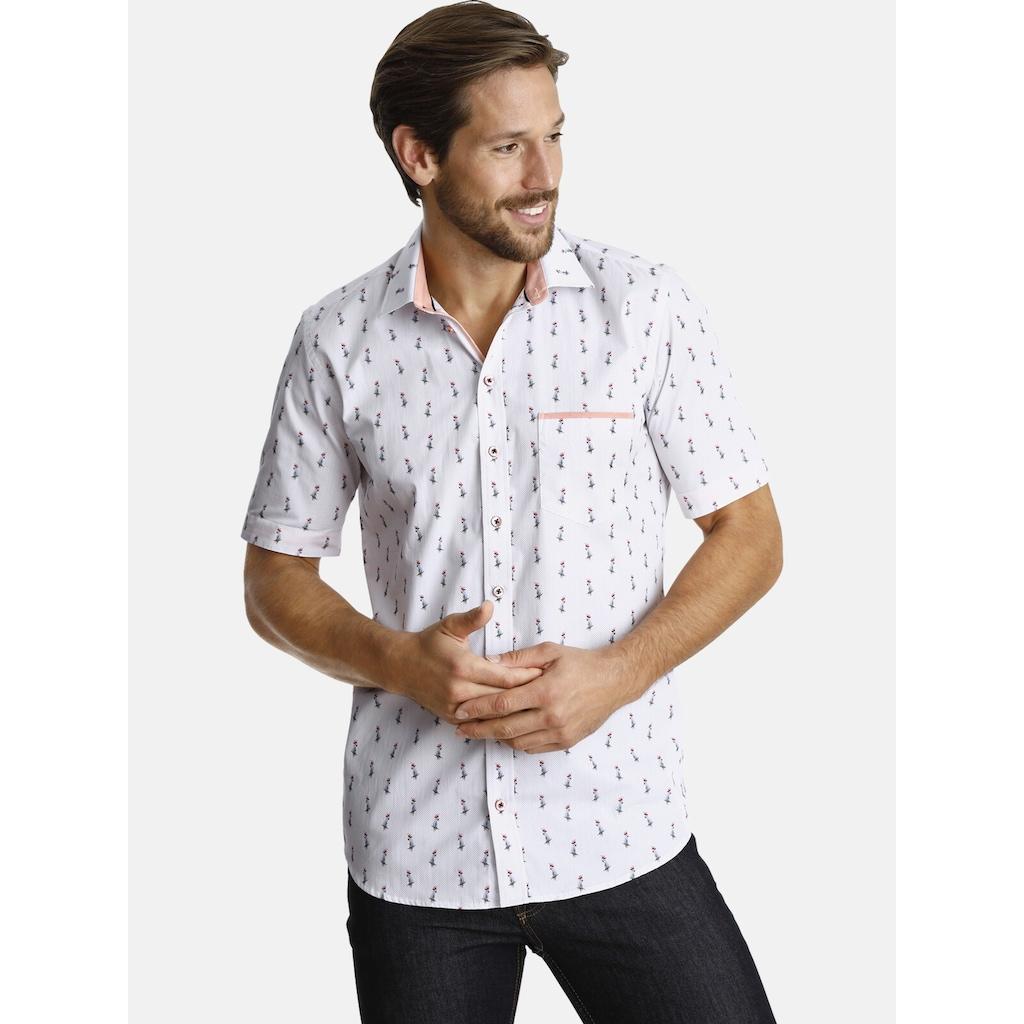 SHIRTMASTER Kurzarmhemd »bluecockatoo«, Ärmelumschlägen in Kontrast