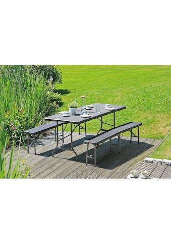 GARDEN PLEASURE Bierzeltgarnitur »Ventana«, 3 - tlg., 2 Bänke, Tisch, Kunststoff kaufen