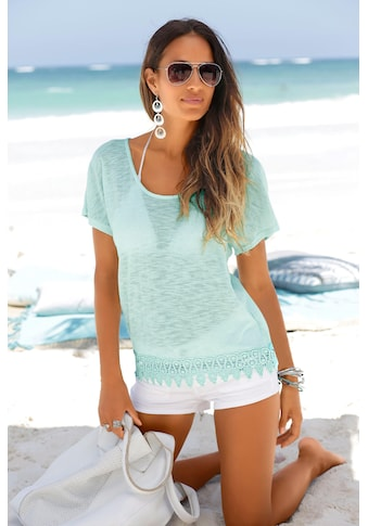 LASCANA Strandpullover, mit Spitze kaufen
