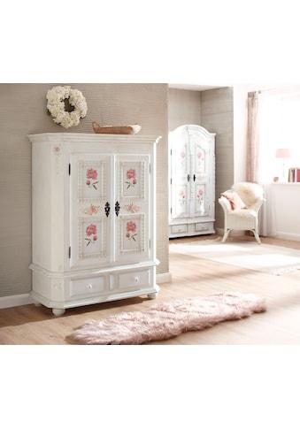 Premium collection by Home affaire Highboard »Taunus«, aus massivem Fichtenholz, mit schönem Blumenmuster auf den Türfronten, Breite 116 cm kaufen
