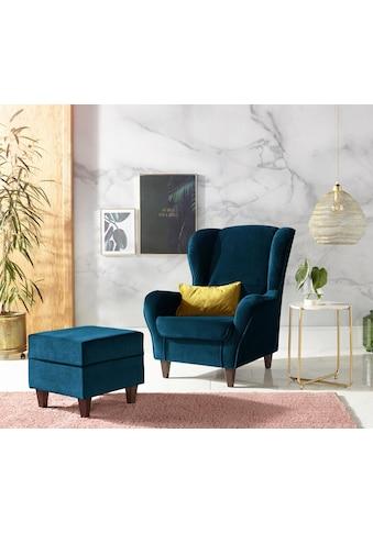 INOSIGN Sessel »Nico«, mit Bezug in Samtoptik, mit und ohne Hocker kaufen