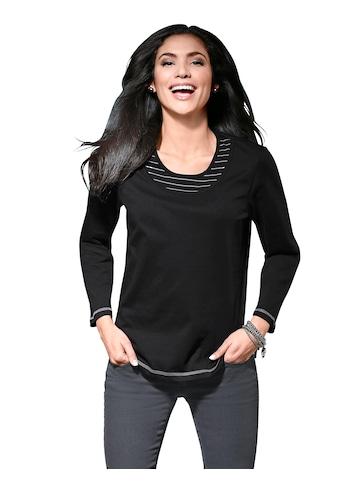 Classic Basics Shirt mit Kontrast - Einsätzen an Ausschnitt kaufen