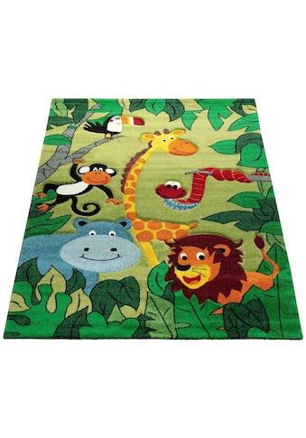 Paco Home Kinderteppich »Diamond 638«, rechteckig, 18 mm Höhe, Kurzflor, 3D-Design Dschungel Tiere kaufen