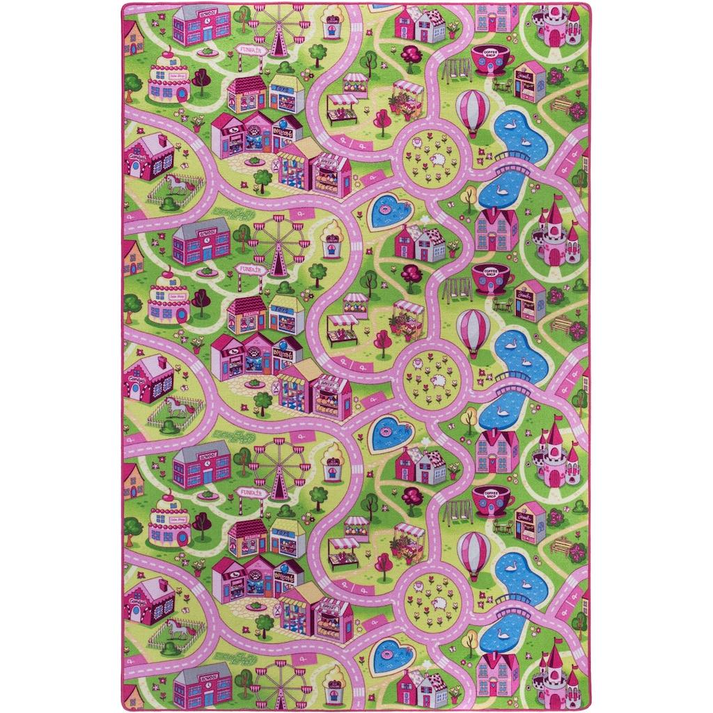 Andiamo Kinderteppich »Sweet Village«, rechteckig, 7 mm Höhe, Strassen-Spielteppich, Strassenbreite: 6,0 cm