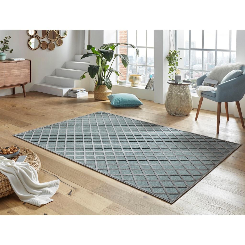 MINT RUGS Teppich »Danton«, rechteckig, 4 mm Höhe, Viskose Glanz, Hoch-Tief Struktur, Wohnzimmer