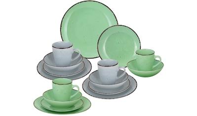 ARTE VIVA Kombiservice »Puro«, (Set, 16 tlg.), Farbset in lindgrün und grau, vom... kaufen