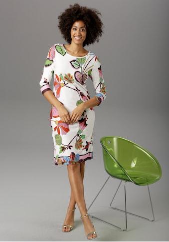 Aniston SELECTED Jerseykleid, im farbenfrohen Druck und gestreiften Abschlüssen - NEUE KOLLEKTION kaufen