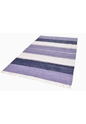 THEKO Teppich »Stripe Cotton«, rechteckig, 5 mm Höhe, Flachgewebe, reine Baumwolle,... kaufen