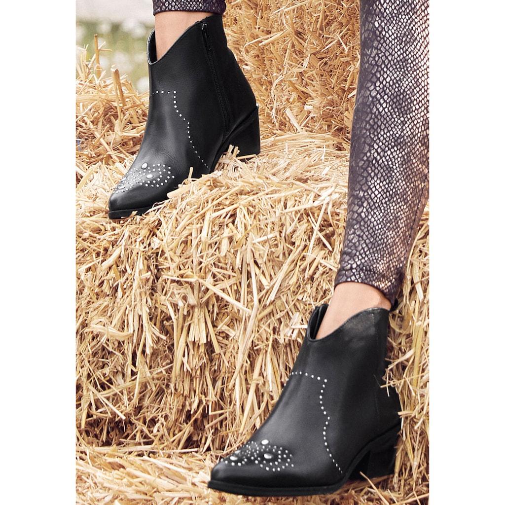 LASCANA Stiefelette, aus Leder mit Nieten im Cowboy-Look