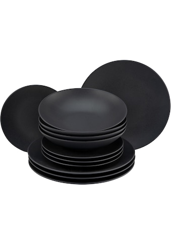 """CreaTable Tafelservice """"Soft Touch Black"""" (12 - tlg.), Steinzeug kaufen"""
