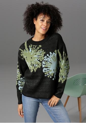 Aniston CASUAL Rundhalspullover, mit grafischen Blüten kaufen