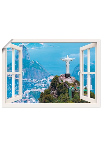 Artland Wandbild »Fensterblick Rio de Janeiro mit Cristo«, Gebäude, (1 St.), in vielen... kaufen