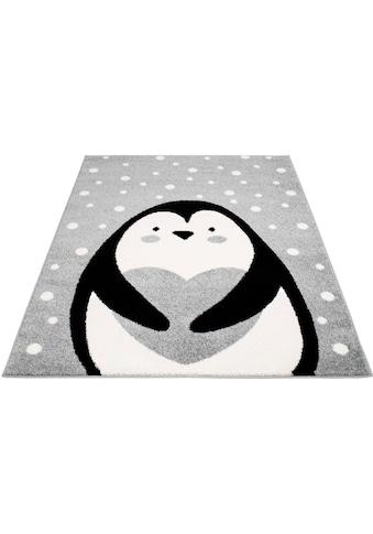 Carpet City Kinderteppich »Bubble Kids 1328«, rechteckig, 11 mm Höhe, Pinguin Kurzflor Teppich kaufen