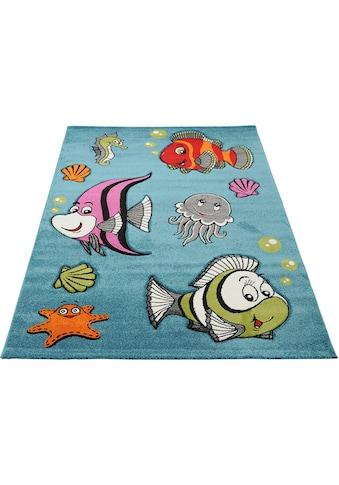 merinos Kinderteppich »GERS«, rechteckig, 13 mm Höhe, bunte Fische, handgearbeiteter Konturenschnitt kaufen