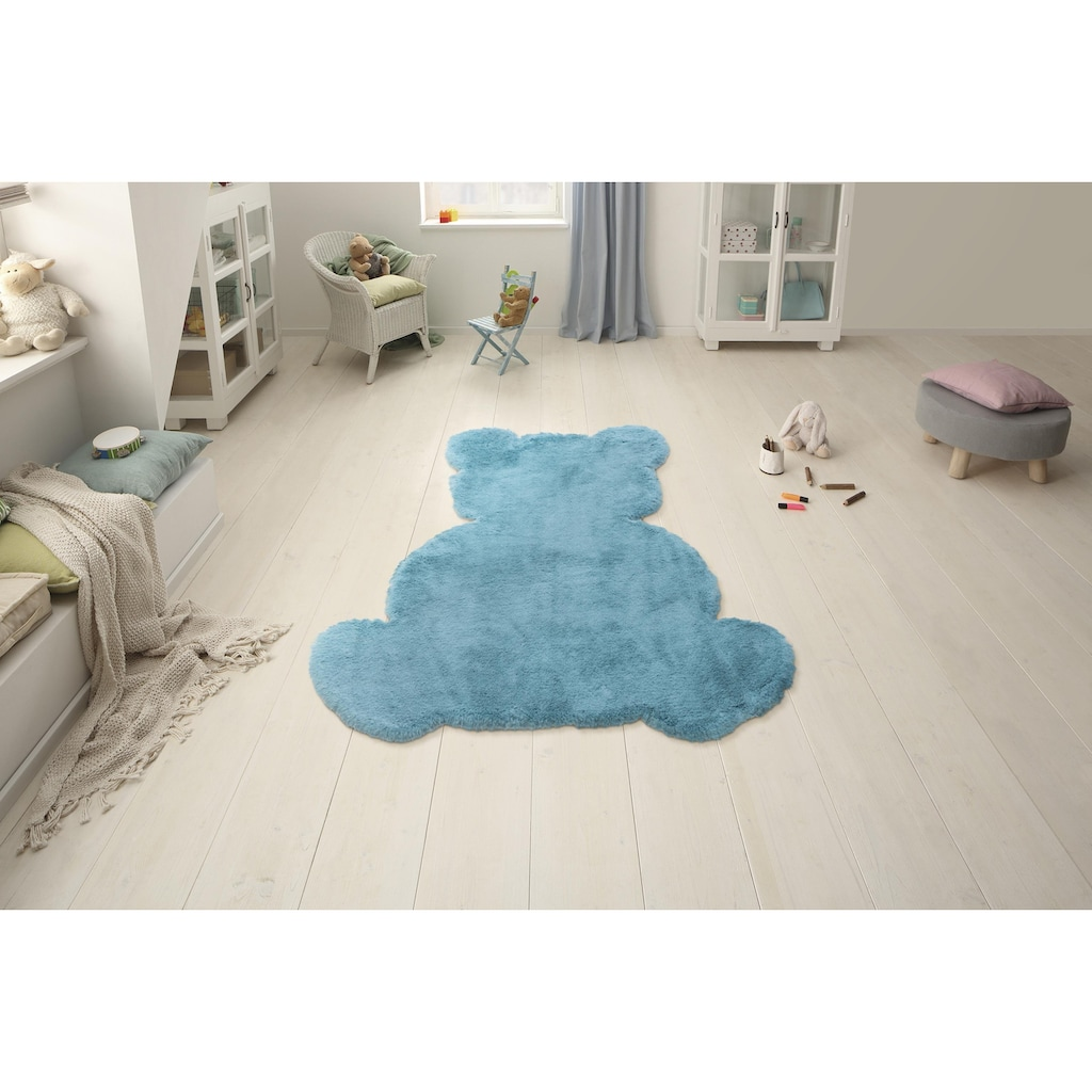 Lüttenhütt Kinderteppich »Teddy«, Motivform, 25 mm Höhe, Kaninchenfell-Haptik, Motiv Teddy