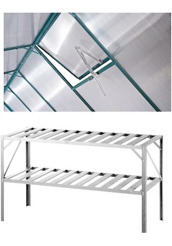 KONIFERA Set: Pflanztisch BxTxH: 126x50x75 cm, Inkl. Fensteröffner, silberfarben kaufen